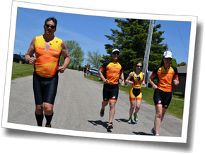 After swim and bike sets, athletes complete a timed pacing run set at Colossal Training Day - Guelph, Ontario