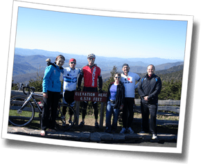 Athlete group shot on Mt. Mitchell, DZ Spring Triathlon Training Camp - Asheville, North Carolina
