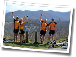 DZ athletes stop for a group shot at the Walnut Cove Overlook, part of the famous Blue Ridge Parkway at DZ Asheville Spring Triathlon Camp 2013