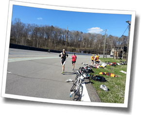 Athletes complete a bike+run multi-brick workout at the Asheville Mellowdrome bike track - Asheville Spring Triathlon Camp 2014