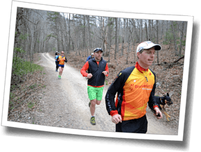 Head Triathlon Coach Mike Coughlin leads a trail run at Discomfort Zone Spring Triathlon Camp 2014