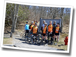 The Discomfort Zone Athletes after completing a hard bike up the formidable Mount Pisgah - DZ Asheville Triathlon Camp 2014