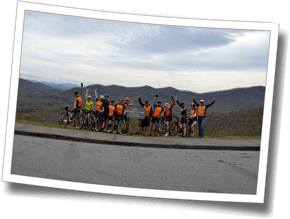 Group shot at the summit of Walnut Cove - Blue Ridge Parkway, DZ Asheville Spring Triathlon Camp 2016