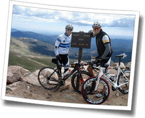 James and Coach Mike on the climb up Mount Evans, The Boulder Experience Triathlon Camp 2012
