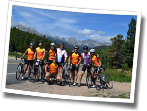 Group shot of Discomfort Zone athletes on the Peak-to-Peak Highway, The Boulder Experience Triathlon Camp 2013