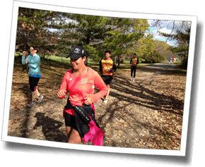 Gabriela enjoys a fall trail run at Fall Triathlon Clinic 2015