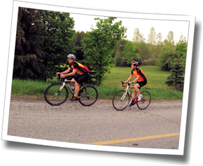 Melissa and Coach Mike check out the Guelph Lake Triathlon bike course at DZ Spring Triathlon Training Clinic 2013