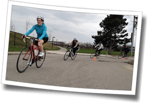 Finishing up an early-season outdoor race skills workout at DZ Spring Triathlon Training Clinic