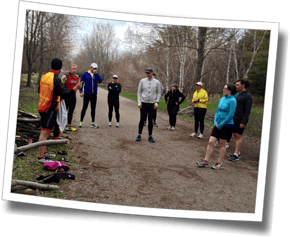Getting ready for a trail run in the Arboretum at DZ Spring Triathlon Clinic 2014
