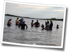 Early-season triathlon in Ontario makes for a cold swim - athletes attending DZ Spring Triathlon Training Clinic are ready to race, as open water swims start as soon as weather permits