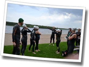 Getting into wetsuits for the open water swim, Spring Triathlon Clinic 2015