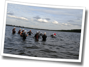 Athletes are briefed on the cold-water swim, Discomfort Zone Spring Triathlon Clinic 2015