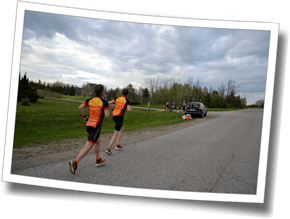 Mike and Michel run toward transition at Discomfort Zone Spring Triathlon Clinic 2016