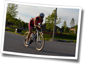 Amy cuts loops during cornering practice at Discomfort Zone Spring Triathlon Clinic 2016