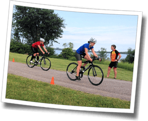 Athletes practice emergency stops at Discomfort Zone Summer Triathlon Clinic 2014