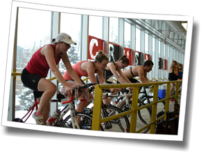 Indoor trainer workout at DZ Winter Triathlon Training Clinic 2014