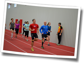 DZ athletes completing run drills indoors at DZ Stroke Improvement & Triathlon Clinic, Winter 2014