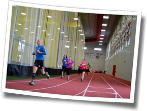 Athletes complete an indoor run indoors at the Gryphon's Fieldhouse, DZ Winter Triathlon Clinic - Guelph, 2014