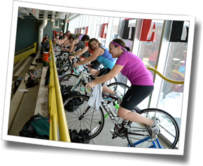 DZ athletes completing an indoor trainer bike workout at DZ Stroke Improvement & Triathlon Clinic, Winter 2014