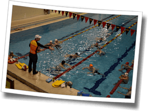 A coached pool swim at Winter Triathlon Clinic 2015
