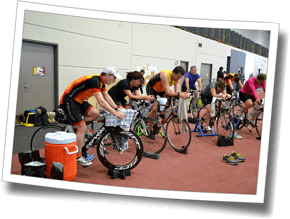 An indoor bike workout at Winter Triathlon Clinic 2015