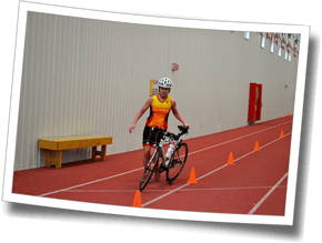 Practicing transition skills on the cone course - Winter Triathlon Clinic 2016