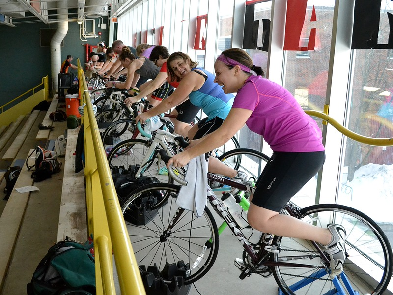 Dz Athletes Completing An Indoor Trainer Bike Workout At Stroke Improvement Triathlon Clinic
