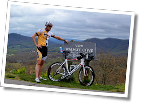 Triathlete James takes a breather at the summit of Tunnel Hill: the Walnut Cove overlook on the Blue Ridge Parkway