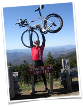 James conquers Mt. Mitchell at last year's camp.