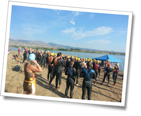 Race briefing at the Boulder Aquatic Masters' Bare Bones Open Water Swim, July 27, 2013