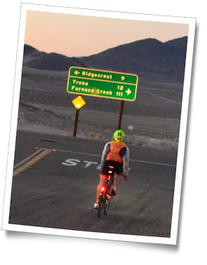 Mike takes a turn near sunset. Team Tufted Titmouse at the 2013 Furnace Creek 508