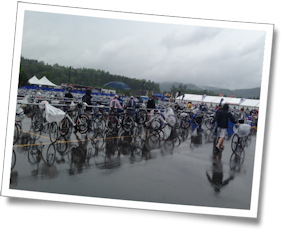 It was raining in Tremblant as the three of us prepared for Ironman Tremblant 70.3