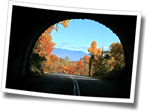 The many unlit tunnels on the Blue Ridge Parkway provide an interesting cycling venue for triathletes attending Discomfort Zone's Asheville training camps.  Lights are a must in some of the longer tunnels, which are often closed to motor vehicles during camp.